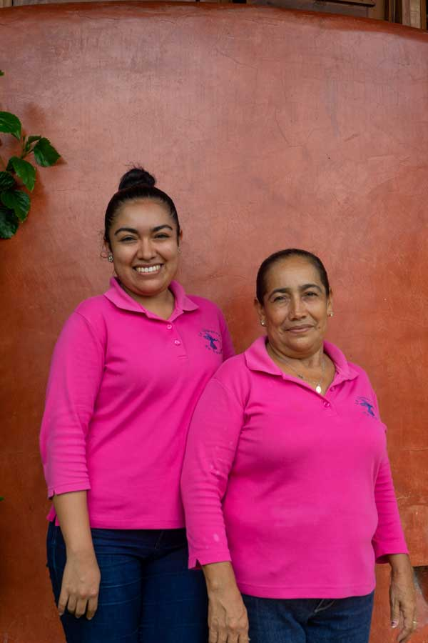 Mafalda and Diana housekeepers view and ocean La Chuparosa de Saladita Mexico surf vacation