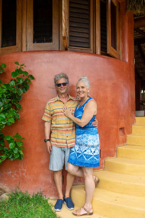 Ann Dusenberry and Brad Fiedel owners view and ocean La Chuparosa de Saladita Mexico surf vacation