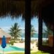 view of pool and ocean La Chuparosa de Saladita Mexico surf vacation
